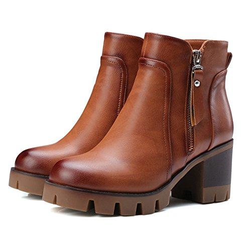 COOLCEPT Damen Blockabsatz Knoechel Plateau Schuhe für die Reißverschluss Martin Stiefel Braun