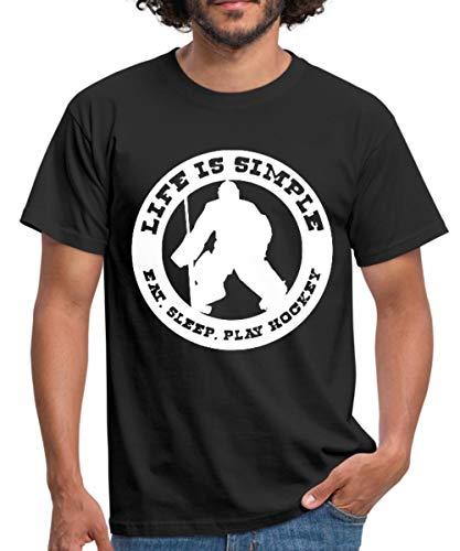 Hockey Eishockey Sprüche Männer T-Shirt, XL, Schwarz