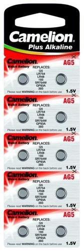 Alkaline-Knopfzelle CAMELION AG5 1,5V, 10er-Blister
