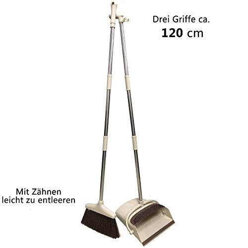 Tiiante Besen Schaufel Kehrbesen und Kehrschaufel Kehrset Kehrgarnitur Schaufel Besen mit langem Stiel 120cm mit ausziehbarem Besen