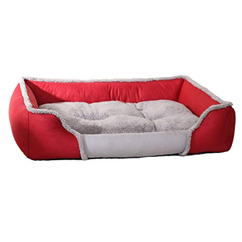 Lyuyu The Dog es Bed, Memory Foam Dog Bed SHU Cotton Velvet Using High Elasticities Slow Rebound Solid Memory Foam, Detachable and Washable Breathable Kennel,Red,M