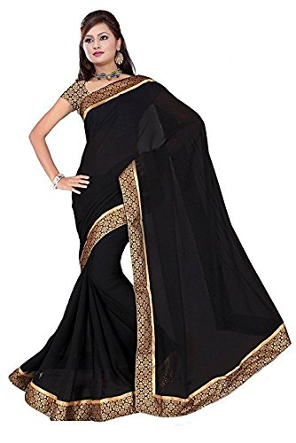 sarees (Floral trendz Chiffon Saree For Women With Brocade Lace Border and Blouse Piece)  available at amazon for Rs.299