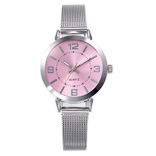 Damen Uhren Analog Quarz Uhr mit Edelstahl Armband Klassisch Quarzuhr Elegant Armbanduhr Mesh Ultradünne Analoguhr LEEDY (B)