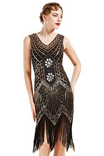BABEYOND Damen Flapper Kleider voller Pailletten Retro 1920er Jahre Stil V-Ausschnitt Great Gatsby Motto Party Damen Kostüm Kleid (Gold, XXL (Fits 86-90 cm Waist)) (Jahre 20er Motto-kleider)