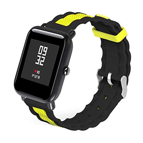 WAOTIER für Xiaomi Huami Amazfit Bip Youth Armband Welle Silikon Armband mit Großen Löchern Zweifarbiger Armband für Xiaomi Huami Amazfit Bip Youth Watch Wasserdicht Atmungsaktiver Armband (Muster D)