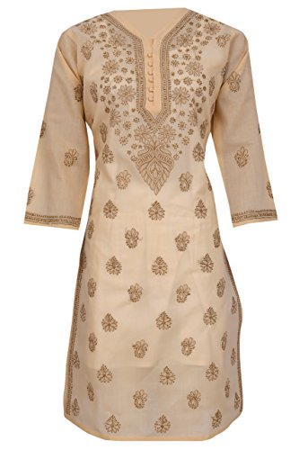 ADA Handcrafted Lucknow Chikan Hand Embroidered Cotton Kurta Kurti (A231417_Fawn)
