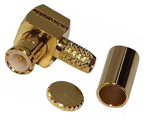 AERZETIX: Connecteur prise fiche coudée MCX mâle 50Ω pour câble RG174 RG188 RG316