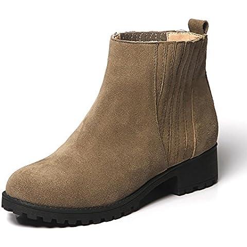 stivali di pelle nubuck tacco autunno e di inverno delle donne stivali Martin , khaki , 36