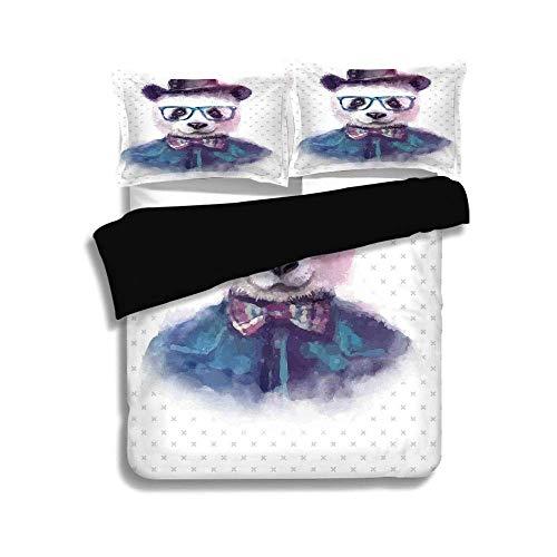 LIS HOME Schwarzer Bettbezug Set, lustig, Vintage Hipster Panda mit Fliege Dickie Hut Horn umrandeten Brille Aquarell-Stil, schwarz blau, dekorative 3 Stück Bettwäsche Set von 2 Pillow Shams