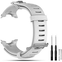 Cyeeson pour Suunto D4/D4i Novo Montre GPS de Remplacement Bracelet de Montre, Doux Bracelet en Silicone Sangle Montre Intelligente Bracelet Band pour Suunto D4/D4i Novo Smart Watch, Blanc
