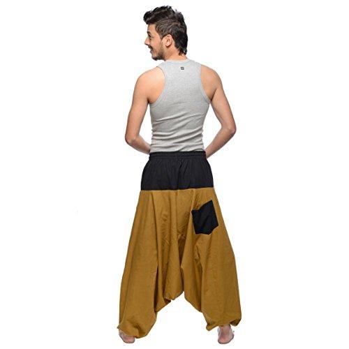 Haremshose Pumphose Aladinhose Pluderhose Yoga Goa Sarouel Baggy Aladin Freizeithose Simandra Herren (Braun, S/M) - Bild 7