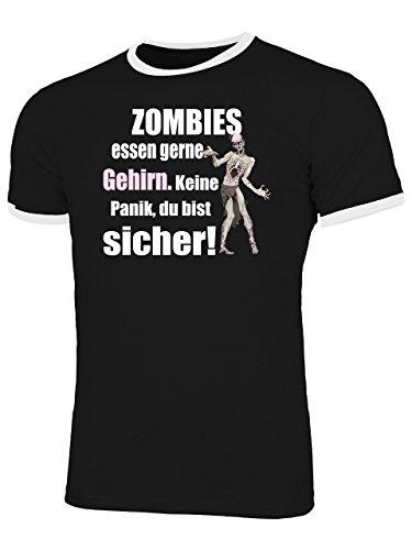 Zombies Essen gerne Gehirn Keine Panik du bist sicher 5127 Halloween Fun Shirt Männer mit Spruch lustig Herren Ringer Tshirts Schwarz Weiss XL