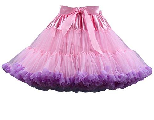 Donna Balletti Danza Tutu Ballet Gonna multistrato Ruffle Frilly Petticoat Bubble Gonna Leggero Pink Viola