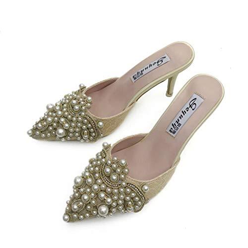 Women's Summer Pearl Stiletto Casual Pointed High Heels ShoesSandali Estivi Donna con Zeppa Eleganti Scarpe Bassi Infradito Tacco Alto