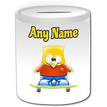 Regalo personalizado – Bart Simpson Caja de dinero (pingüino disfraz de personajes de dibujos animados Tema de diseño, color blanco) – cualquier ...
