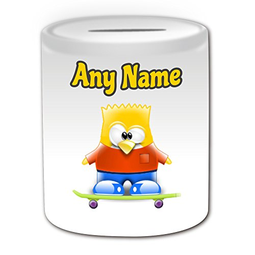 Personalisiertes Geschenk – Bart Simpson Spardose (Pinguin Cartoon Charakter Kostüm Design Thema, weiß) – alle Nachricht/Name auf Ihre einzigartige – Silly Funny Neuheit kawaii Humor Anime Animation Film Movie Game Roman Art Clipart Episode TV Fernseher Serie Japan japanische Manga Comic Comedy Streifen Buch Disney Zeichnen picturesainting Superheld Hero Super Familie Springfield Homer Lisa Maggie Marge Skateboard