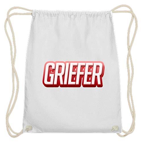 Shirtee Griefer Premium Turnbeutel - Baumwoll Gymsac -37cm-46cm-Weiß