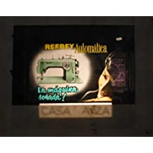 Antigua PUBLICIDAD EN CRISTAL PARA CINES : Máquina de Coser Refrey Automática