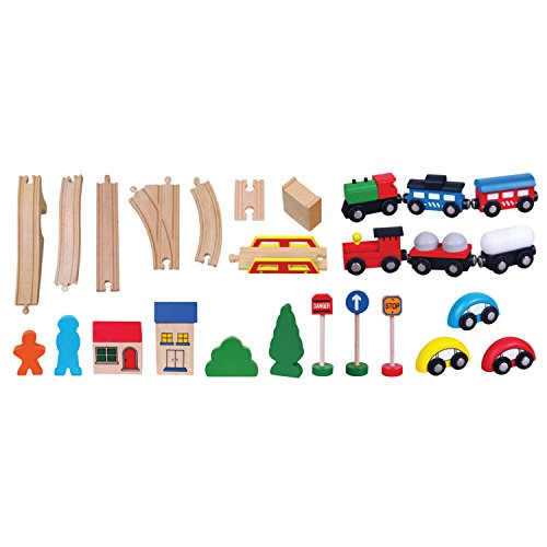 Viga Wooden Train Set 49 Piece