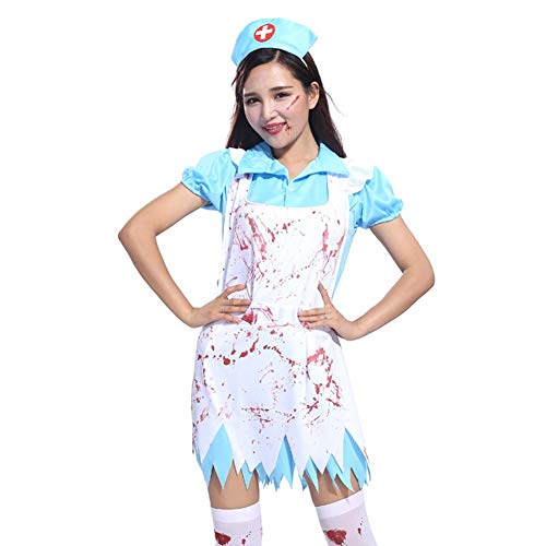 Halloween-Cosplay-Kostüme für Damen und Herren, verrückte Kostüme, blutiger männlicher Chirurgen-Stil, Kleid für Frauen, B