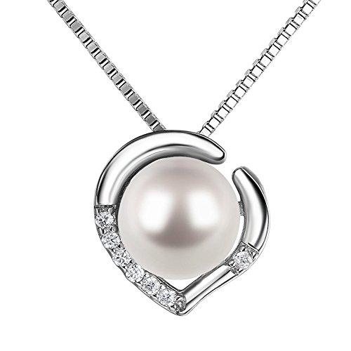 J.SHINE Damen Kette Perlen 925 Sterling Silber Halskette Anhänger Set 3A 6mm Natürliche Süßwasser Perle mit Etui Italien 45cm Valentinstag Geschenk