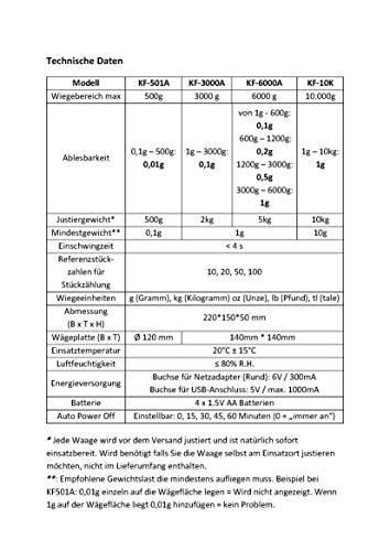 G&G KF6000A oder KF3000A 0,1g – 6000g Präzisionswaage Küchenwaage Briefwaage Tischwaage (KF3000A) - 2