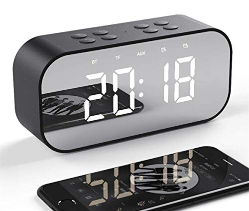 Tanouve Despertador con Altavoz Bluetooth Inalámbrico, 2000mAh Recargable Digital Reloj Despertador Espejo...