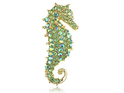 Alilang Synthetic Peridot Kristall Strass Gold Ton Seahorse Ozean Fashion Brosche Anhänger