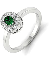 Perrian 18KT Gold, Diamond And Emerald Ring For Women - B078T273J1