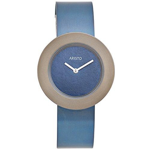 Aristo 5d92Orologio da polso da donna al quarzo analogico blu titanio Orologio da donna