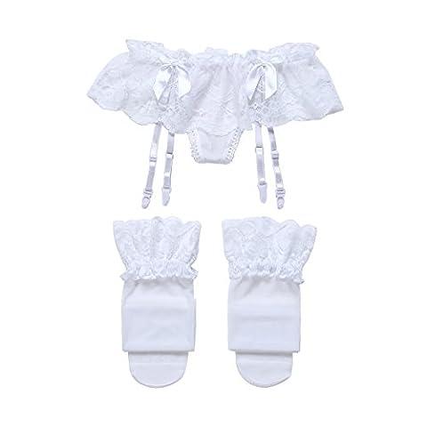 Cszxx Porte-jarretelles de Femme et bas (Blanc)