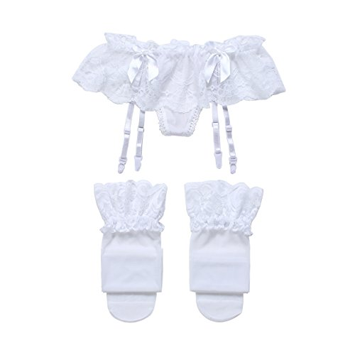 Cszxx Strumpfhalter Damen und Strumpfsets Sexy Lace Strumpfhosen Strapse (Weiß) (Rüschen Dessous-set Mit)
