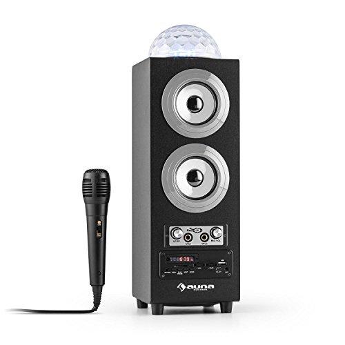 auna DiscoStar altoparlante portatile speaker wireless (Bluetooth, USB, SD, Jellyball LED con spettro cromatico RGB, microfono) - argento