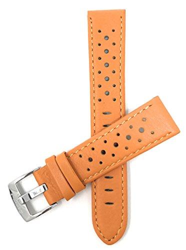 Extra Lang (XL) Leder Uhrenarmband 20mm für Herren, Orange, perforiert, Stil GT Rally, Schließe Edelstahl, auch verfügbar in schwarz, weiß, rot, gelb, königsblau, braun und rosa