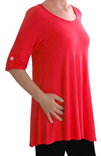 Eyecatch TM Oversize - Haut Tunique manches longues 3/4 large col rond grandes tailles- Jessica - Femme Rouge