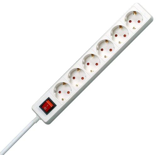 Kopp 120913004 Steckdosenleiste 6-fach mit beleuchtetem Schalter weiß