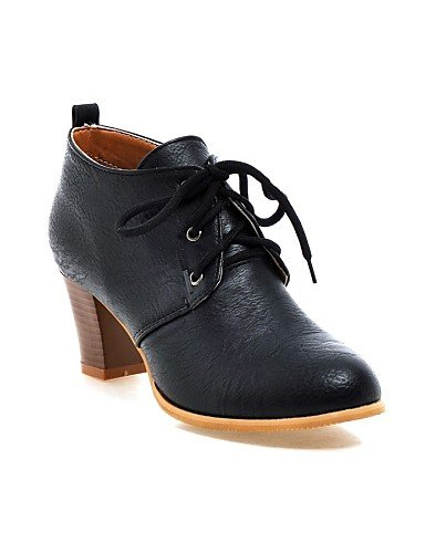 ZQ Scarpe Donna - Stringate - Ufficio e lavoro / Formale / Casual - Stivaletto / Punta arrotondata - Quadrato - Finta pelle -Nero / Giallo / , gray-us10.5 / eu42 / uk8.5 / cn43 , gray-us10.5 / eu42 /  black-us9.5-10 / eu41 / uk7.5-8 / cn42