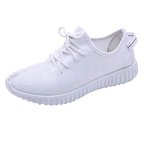 MRULIC Damen Low-Top Sneaker Halbschuh Schnürschuh Damen Flache Turnschuhe Mode Mesh Atmungsaktive Laufschuhe Schnürer Sportschuhe Trainer Schuhe Freizeitschuhe(Weiß,37 EU)