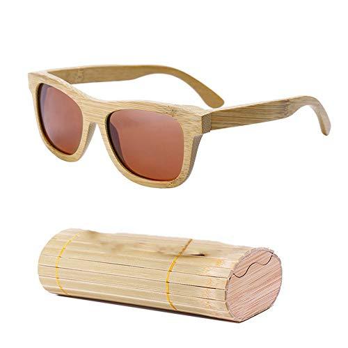 gfhjgjhj Damen Herren Sonnenbrille Holz Bambus Sonnenbrille Polarisierend Überzug Linse Sonnenbrille mit Etui - Gold, 1