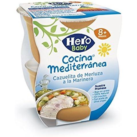 Hero Baby Cocina Mediterránea Cazuela de Merluza a la Marinera, Tarrina de Plástico - Paquete de 2 x 200 gr - Total: 400 gr