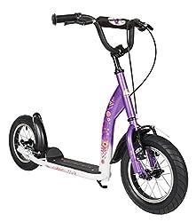 BIKESTAR Roller Kinderroller Tretroller Kickscooter mit Luftreifen für Mädchen ab 6-7 Jahre | 12 Zoll Sport Kinder Scooter | Lila & Weiß