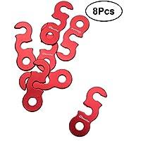 VORCOOL Cuerda Viento Hebilla de Aleación de Aluminio Ajustador de Cuerda para Tienda de Campaña Camping Rojo 8 Piezas