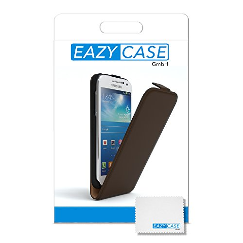 EAZY CASE Flip Case Hülle für Samsung Galaxy S4 Mini Handyhülle - Premium Schutzhülle zum Aufklappen, Klapphülle - Flip Cover in Rot Braun