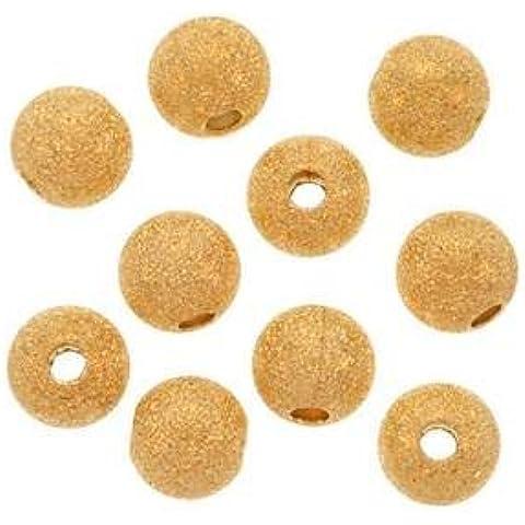 Five Season 8 mm, con stelle in ottone placcato in oro 22 k, con Base, motivo: perline, per bracciali fai da te fabbricazione di bigiotteria, 25 pezzi