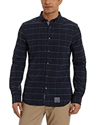 Superdry Mens Casual Shirt (5054576196914_M40004OO_X-Large_Merton Navy Check)