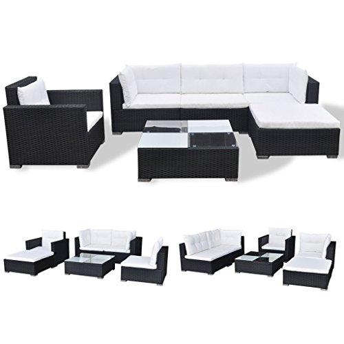 vidaXL Gartenmöbel Set 17-tlg. Poly Rattan Sofa Gartengarnitur Lounge Sitzgruppe