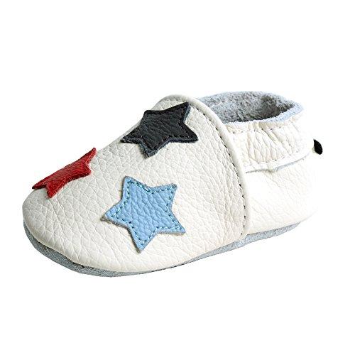 iEvolve Baby Mädchen Jungen Sterne Babyschuhe Baby Weiche Sohle Lederschuhe Baby Lauflernschuhe Krabbelschuhe(Weiß Sterne,6-12 Monate)