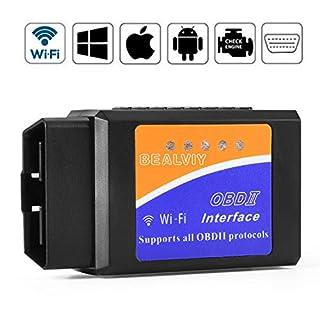 Bealviy BAOBD-01 OBD2 Diagnosegerät Wifi, OBD2 Adapter ios, OBD2 Scanner Wifi USB, Unterstützt Alle OBD2-Protokoll, ELM327 Wifi, Funktioniert auf ios, Android, Symbian, Windows, 45mm*25mm*75mm (Wifi)