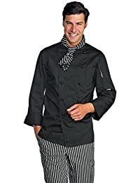 Novaplus Kochjacke Kochbekleidung schwarz langarm mit Kockjackenknöpfe