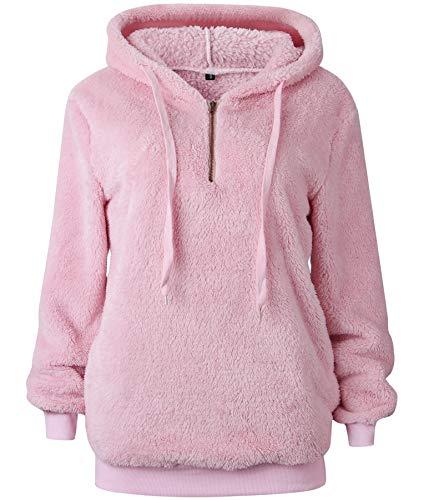 Bwiv Sweatshirt Damen Winter Warm Weich Hoodie Mädchen Pullover Mit Kapuze Flauschig Teddy Fleece Winterpullover Sweater Langarm Kapuzenpullover Oversize Rosa XL(EU 46/48) -